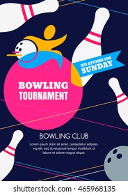 Vector bowling tournament banner, poster or flyer design template. Flat layout background with human silhouette, bowling ball and pins. Abstract illustration.