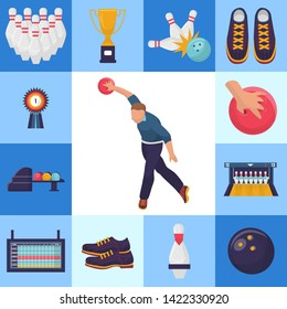 Vector bowling tournament banner with square pictures of man throwing a ball. Skittles, medal for first place winner, sport shoes with bowling alley and results monitor.