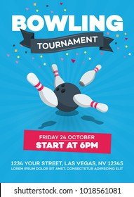 Vector bowling tournament poster with scattered skittle and bowling ball isolated on blue background with transparent shadows.