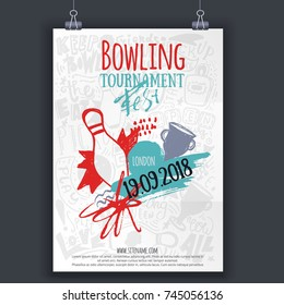 Vector bowling tournament poster template. Modern flyer layout with bowling ball, pins and hand drawn lettering. Banner design
