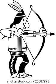 Vector bowman aiming.