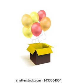 Vector Box with Balloons, Surprise Gift Illustration Isolated on White Background, Yellow and Red Colorful Objects, Festive Art.