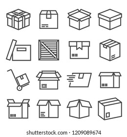 Vector box and parcel icons set for business on white background