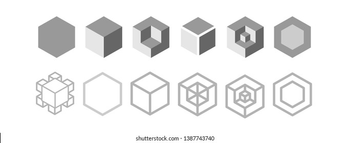 Vector box of  square  hexagon Stacked together with a White background. Used in printing and web.impossible.cube.icon.logo design.Geometry.dice.Third power.chest