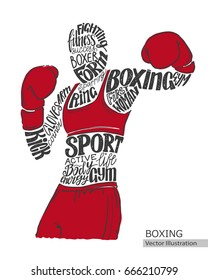 Vector boxer. Silhouette of the athlete from the thematic words. Text graphics, lettering.