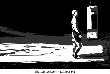 Vector of a boxer who stands in front of a punching bag, preparing for training. Black-white-gray tone