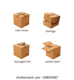 Vector boxes in different States. Damaged and whole boxes