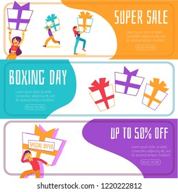Vector boxing day super sales, discounts banners set. People carry huge boxes bought at clearances in shops at christmas winter traditional holiday. Happy men, women with presents with space text
