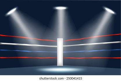Vector of Boxing ring corner surrounded by spotlight on a dark blue background.