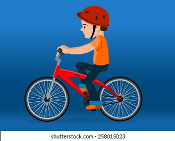 Vector of a boy cycling