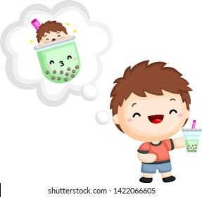 a vector of a boy holding a bubble tea
