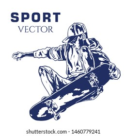 Vector boy with skateboard. Hand drawn illustration of a skateboarder. Skater Vector Sketch