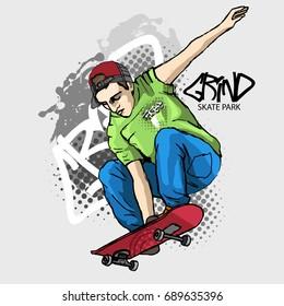 Vector boy with a skateboard. Hand drawn illustration of skateboarder 5