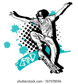 Vector boy with a skateboard. Hand drawn illustration of skateboarder 4
