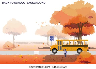 vector boy waiting school bus on autumn forest background