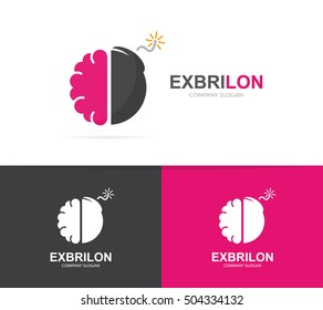 Vector of a brain and bomb logo combination . Brainstorm and science symbol or icon.  Unique psychology and innovation logotype design template.