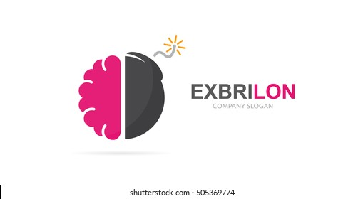 Vector brain and bomb logo combination . Brainstorm and science symbol or icon. Unique psychology and innovation logotype design template.