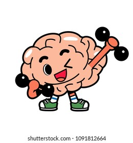 Vector brain character doing exercise, weight training isolated on white background