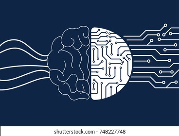 Vector brain and circuit board, Artificial Intelligence or AI concept.