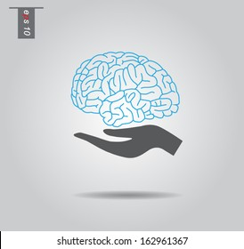 Vector brain and hands icons