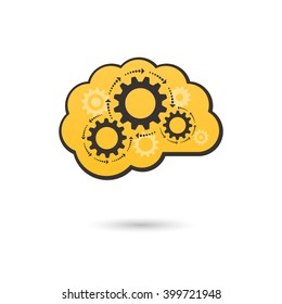 Vector brain icon with gears. Business idea concept.