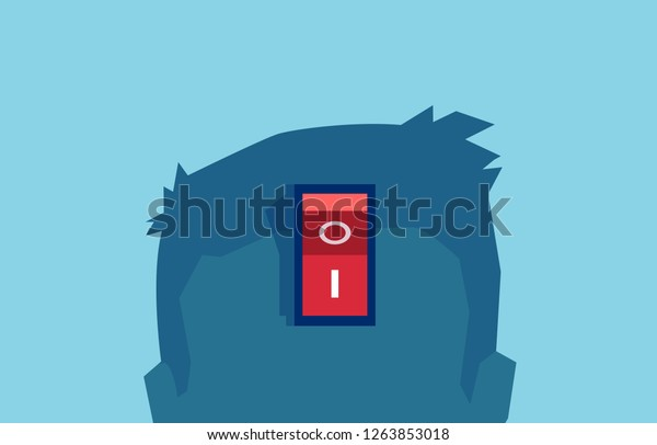 Vector of a brain power switch, turned on working fine, awake. Switch off negative thinking concept. isolated on blue