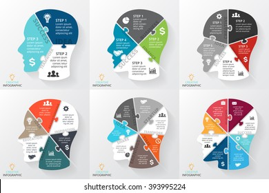 Vector brain puzzle infographic. Template human head diagram, graph, presentation, face chart. Business idea concept with 3, 4, 5, 6, 7, 8 options, parts, steps, processes. Brainstorming infographics