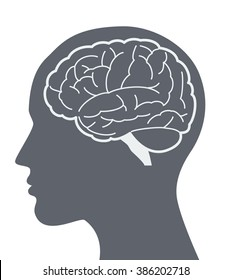 Vector brain silhouette illustration with woman face profile.
