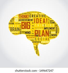 Vector Brain Typography Art