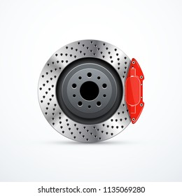 Vector brake disc with caliper. Car brakes