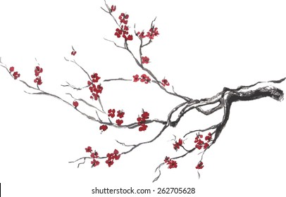 Vector branch of cherry blossom oriental ink wash painting. Blooming sakura sumi-e illustration.