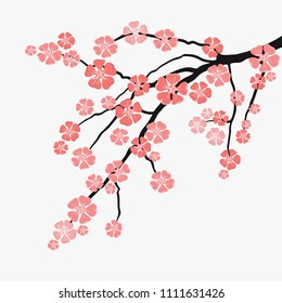фотообои Vector branch with flowers of Japanese cherry, pink sakura blossoms.