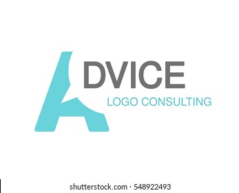 Vector brand for consulting agency, best advice. Logo design with symbol of letter A.