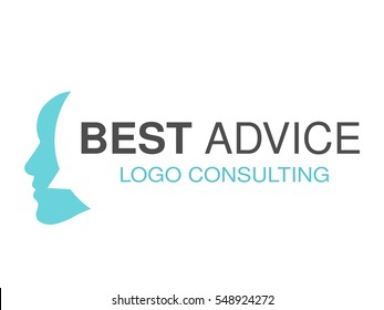 Vector brand for consulting agency, best advice. Logo design with symbol of speech bubble and face of man.