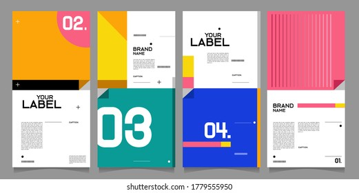 Vector brand label, banner and social media post layout design template