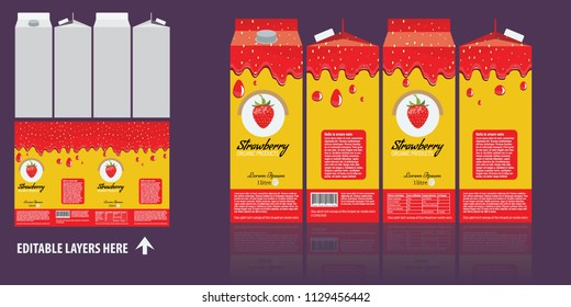 Vector Branding package design. Strawberry juice package box design template. Ready package design for juce.