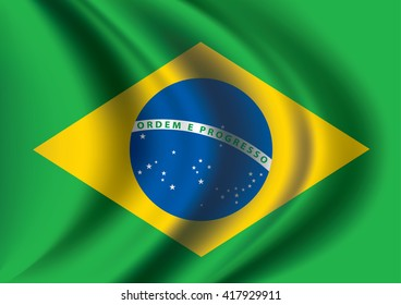 Vector Brazil flag blowing in the wind