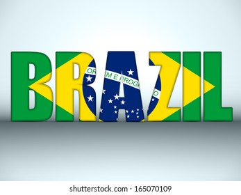 Vector - Brazil Letters with Brazilian Flag