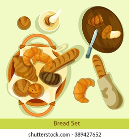 Vector Bread Compositions.EPS vector bread icon set in a flat detailed style. Bread top point of view composition.