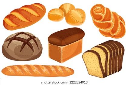 Vector bread icons set. Long loaf, rye bread, baguette, rolls, white bread, sliced bread, brioche.