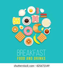 Vector breakfast concept with food and drinks with flat icons in circle composition. Breakfast composition sandwich and omelette, breakfast food bakery illustration