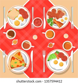 Vector breakfast concept set with food and drinks with flat icons in composition. Breakfast composition sandwich and omelette, juce, breakfast food bakery illustration