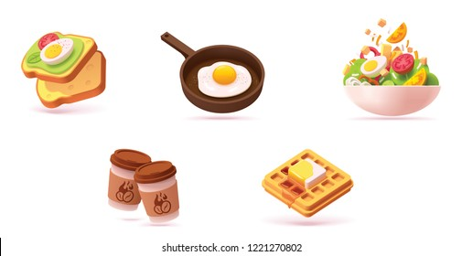 Vector breakfast icon set. Includes illustrations avocado toasts with egg, fried egg, salad, waffle with maple syrup and coffee