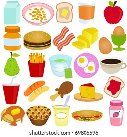 Vector of Breakfast and Lunch - cereal, bread, juice, fruit, pie, pancake, sandwich, jam. A set of cute and colorful icon collection isolated on white background