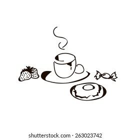 Vector breakfast - tea, strawbwerry, candy, donut