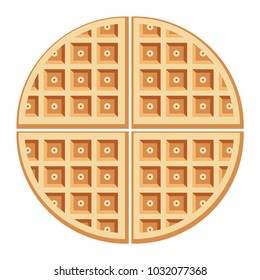vector breakfast waffles isolated on white background. belgium round waffle as sweet delicious food concept. top view