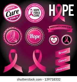 Vector Breast Cancer Awareness Ribbons and Badges. EPS 10.