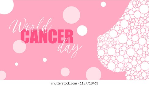 Vector Breast on pink background. Breast cancer awareness month