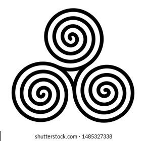 Vector breton and celtic original spiral triskel symbol