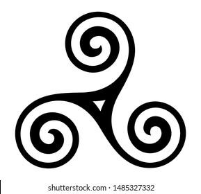 Vector breton and celtic original triskel symbol isolated on white background